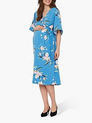 5731fbbcdd52b Mama Licious Mamalicious Martina Floral Wrap Maternity and Nursing Dress,  Cendre Blue