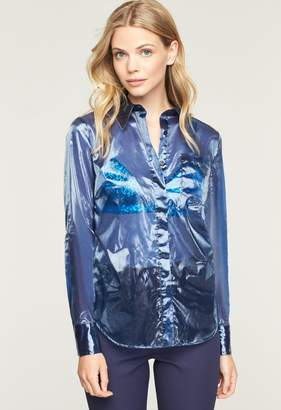 Milly Tech Organza Button Down Shirt