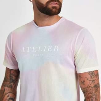 River Island Pink tie dye slim fit crew neck T-shirt