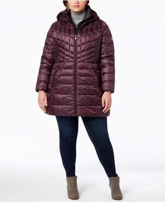 Bernardo Plus Size Hooded Packable Puffer Coat
