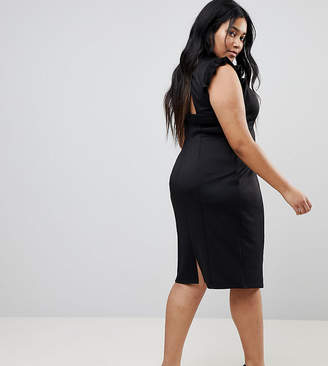 Asos Midi High Neck Pencil Dress With Cut Out Back And Shoulder Detail
