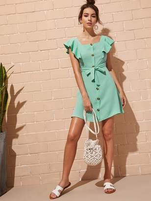 Shein Button Front Self Tie Shirt Dress