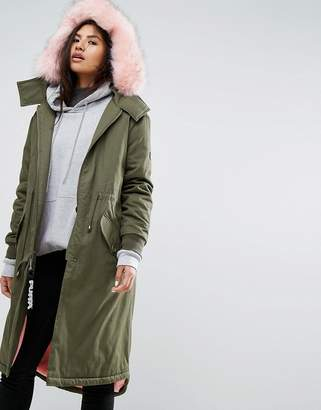 Puffa Oversized Parka Jacket With Faux Fur Trim And Snuggle Lining