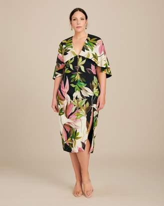 Christian Siriano Hawaiian Print Capelet Dress