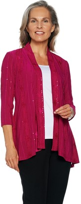 Susan Graver Novelty Knit Embroidered Cardigan
