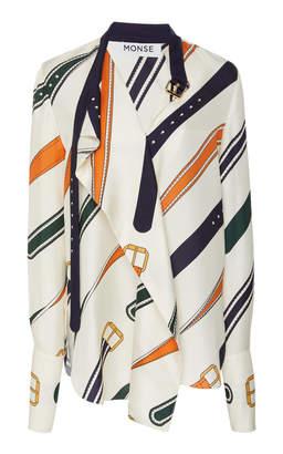 Monse Belt Collar Print Blouse