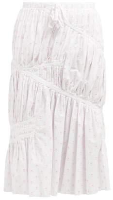 J.W.Anderson Fil Coupe Cotton Midi Skirt - Womens - White Multi