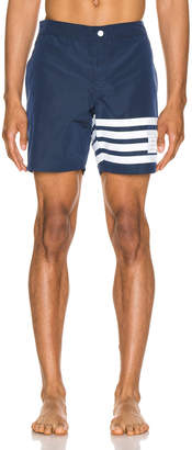 Thom Browne Snap Front Swim Short in Navy | FWRD