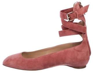 Valentino Suede Ankle Strap Flats