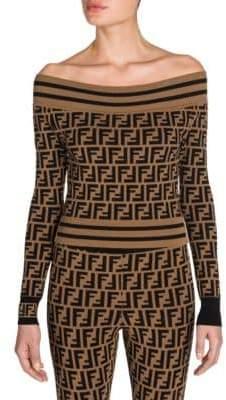 Fendi Off-The-Shoulder Knit Logo Sweater