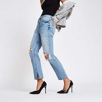 River Island Womens Blue premium crop kickflare ripped jeans