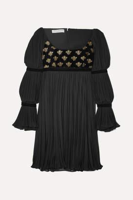 Philosophy di Lorenzo Serafini Pleated Chiffon And Velvet Mini Dress - Black