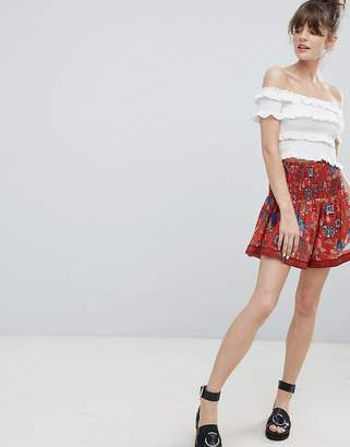 Leon and Harper Bird Print Mini Skirt