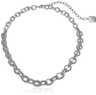 Anne Klein Silver-Tone Pave Frontal Necklace