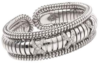 18K White Gold Diamond Snake Cuff Bracelet