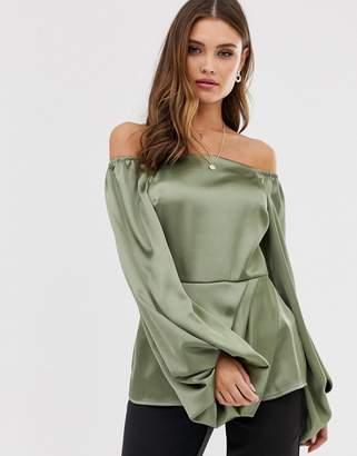 Asos Design DESIGN long sleeve off shoulder top in satin