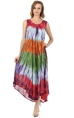 Sakkas 10831 Ombre Floral Tie Dye Tank Sheath Caftan Cotton Dress - /