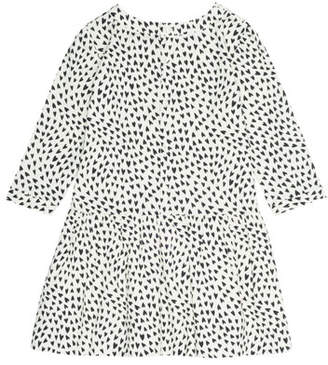 Bonpoint Long-Sleeve Heart-Print Dress, Size 3-8