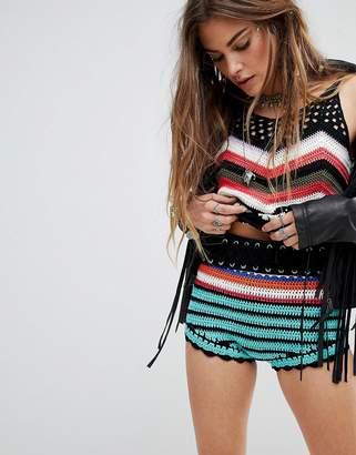 En Creme En Crme High Waist Shorts In Crochet Chevron Two-Piece
