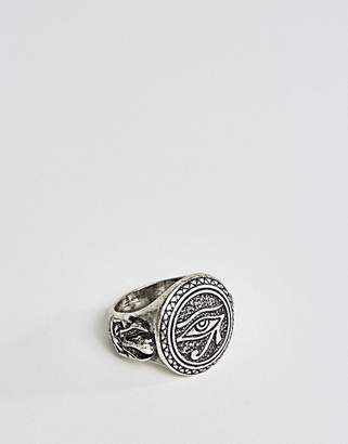 Asos Ring In Burnished Silver With Egyptian Eye
