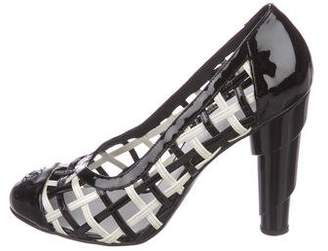 Chanel CC Patent Leather Cap-Toe Pumps