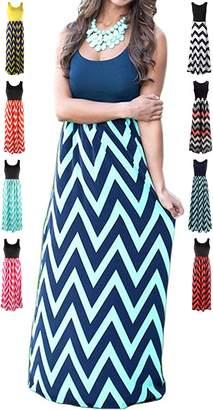 HanDanGe Women's Summer Chevron Striped Print Dress Tank Long Maxi Dresses For Women -XL