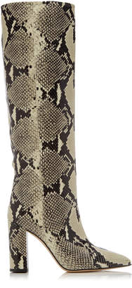 Paris Texas Snake-Effect Leather Knee Boots Size: 35