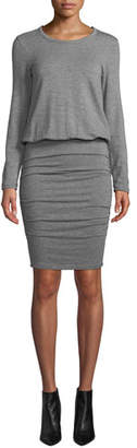 Sundry Ruched Long-Sleeve Crewneck Dress