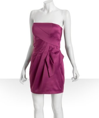 Max & Cleo hot pink satin pleated strapless dress
