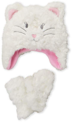 American Boy & Girl (Toddler Girls) White Faux Fur Cat Hat & Gloves Set