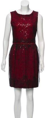 Oscar de la Renta Sleeveless Sequined Dress