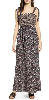 d29856e6a0 Angie Tie Strap Floral Smocked Maxi Dress