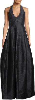 Halston Metallic Jacquard Halter Tulip Gown