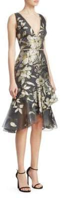 Marchesa Metallic Floral-Print Asymmetrical Flounce Dress