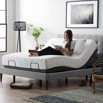 Lucid L300 Adjustable Bed Base - 5 Minute Assembly - Dual USB Charging Stations - Head and Foot Incline - Wireless Remote Control - Upholstered - Ergonomic - Charcoal