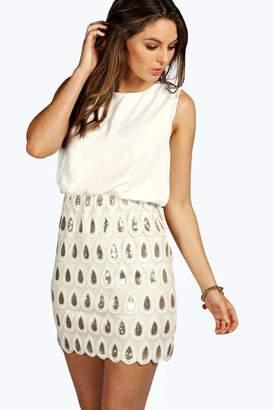 boohoo Boutique Sequin Chiffon Bodycon Dress
