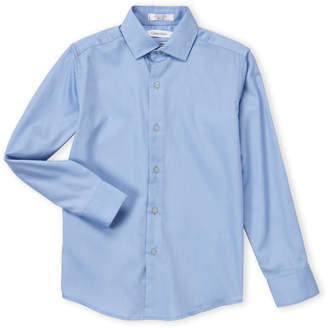 Calvin Klein Boys 8-20) Med Blue Sateen Dress Shirt