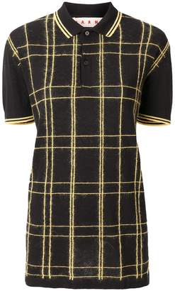 Marni long checked polo shirt