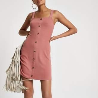 River Island Womens Pink button front rib mini dress