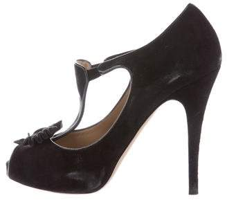 Valentino Bow-Accented T-Strap Pumps