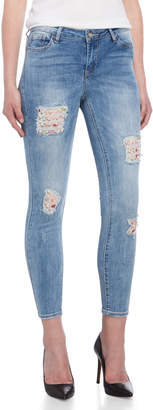 Bebe Throne Beaded Floral Detail Skinny Jeans