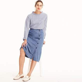 J.Crew Side-button skirt in chambray