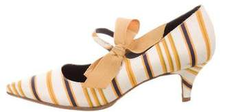 Tory Burch Striped Pointed-Toe Pumps
