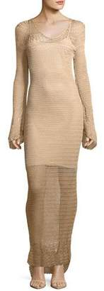 Haute Hippie Maureen Long-Sleeve Crochet Maxi Dress