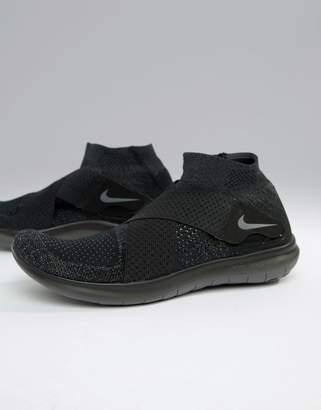Nike Running Free Run Motion Flyknit 2017 Sneakers In Triple Black 880845-003