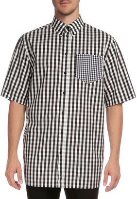 Givenchy Gingham Short-Sleeve Sport Shirt with Pocket, Black $685 thestylecure.com