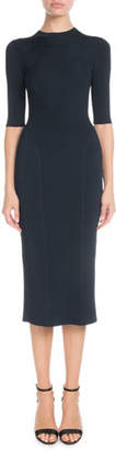 Victoria Beckham Elbow-Sleeve Round-Neck Seamed Midi Dress