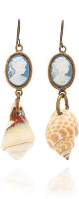 Small Blue Cameo Shell Earrings