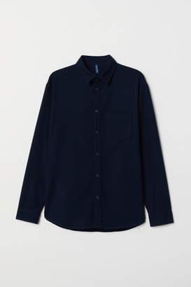 H&M Regular Fit Twill Shirt - Blue
