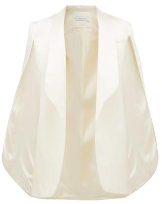 Marina Moscone - Sleeveless Cape Back Wool Blend Jacket - Womens - Ivory